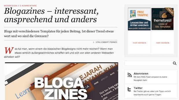 """Webdesign-Trend: """"Blogazines"""" - Für jedes Posting ein eigenes Design"""