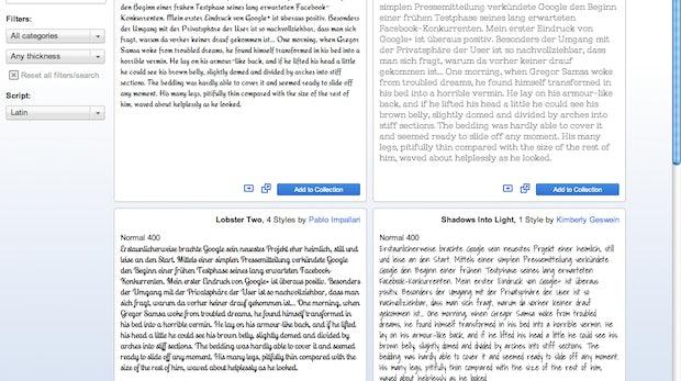 Google Web Fonts Directory: Mehrere Absätze werden nebeneinander verglichen
