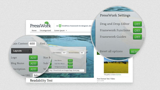 PressWork - WordPress-Themelayout mit WYSIWYG-Editor und HTML5