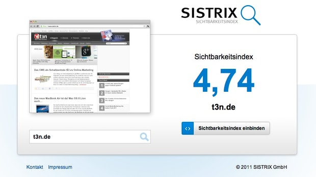 SEO: Sistrix-Sichtbarkeitsindex jetzt frei zugänglich