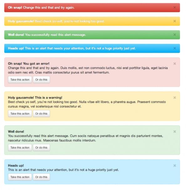 Bootstrap: Warnungen, Hinweise, Fehler