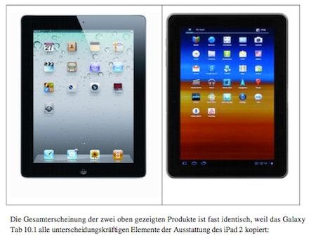 Schwerwiegender Vorwurf: Apple hat das Samsung Galaxy Tab für den Verkaufsverbotsantrag grafisch manipuliert