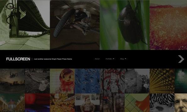 Kostenlose WordPress-Themes gibt es auch für Fotoblog. Dieses schicke Beispiel zeigt das Theme Fullscreen von Graph Paper Press. Per Mouse-over-Effekt werden die einzelnen Bilder heller und damit hervorgehoben.