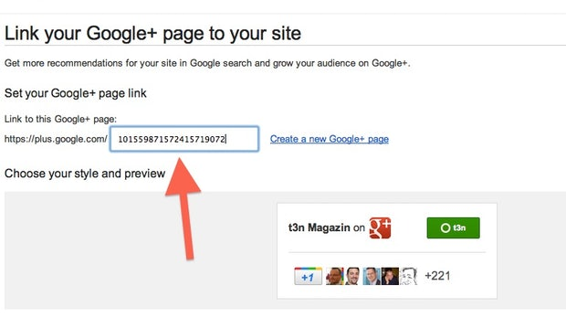 So sieht die Standardversion der Google+ Badges aus. Der Pfeil zeigt, wo die ID eingesetzt werden muss.