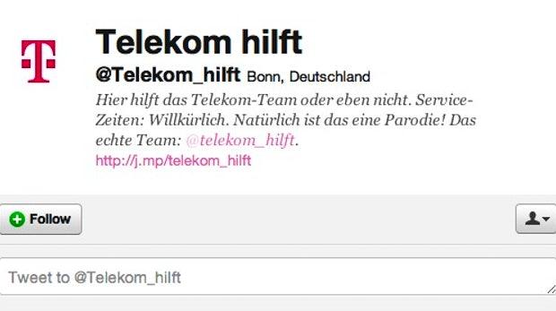 In der Bio von @Telekom_hiIft steht zu lesen, dass es sich um eine Parodie handelt.