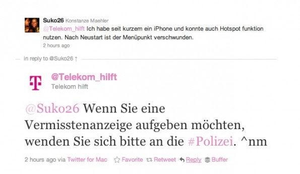 Der Fake-Account @Telekom_hiIft antwortet im Namen von @Telekom_hilft...