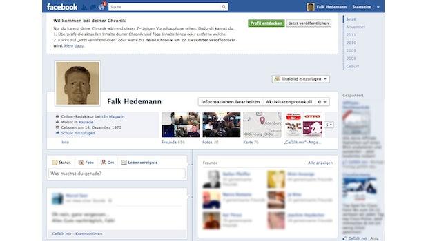 So sieht die Facebook Chronik im Rohzustand, noch ohne Headerbild aus.