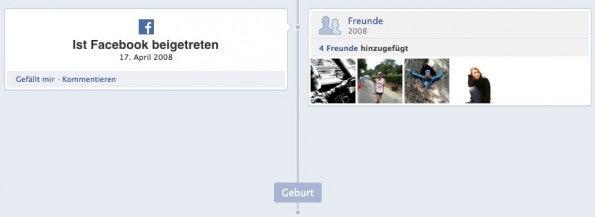 Ein eher schlichter Eintrag in der Facebook Chronik zeigt meinen Beitritt im April 2008.