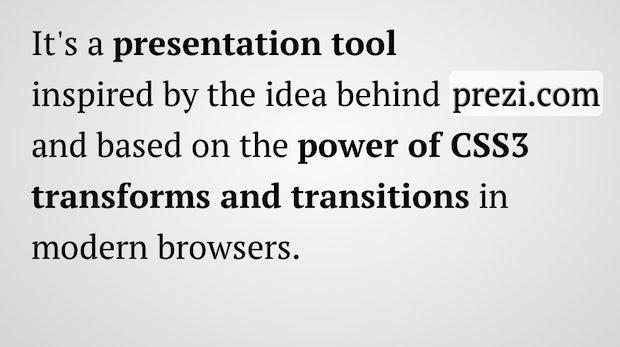 Impress.js Screenshot: presentation tool with HTML5 and CSS3