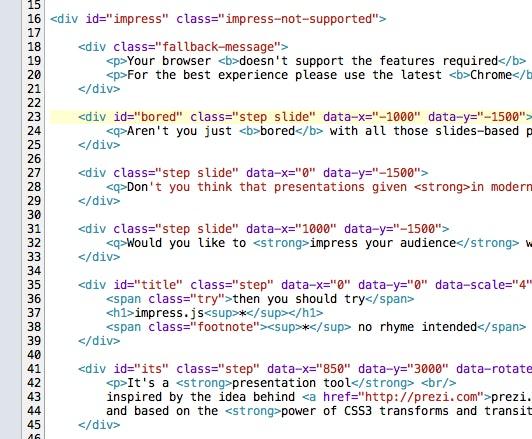 Impress.js Quellcode: index.html