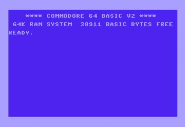 Der Startbildschirm des C64.