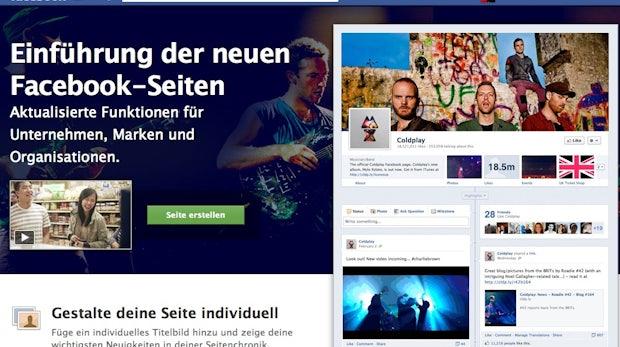 Facebook Chronik für Fanseiten - so sieht sie es für Coldplay aus.