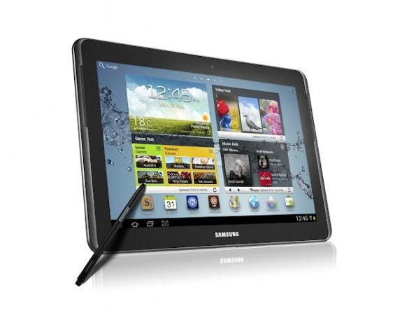 Samsung setzt auf seine S-Pen Technologie: Sowohl das hier abgebildete 10-Zoll-Tablet als auch das 5-Zoll-Smartphone können optional mit dem Stylus bedient werden.