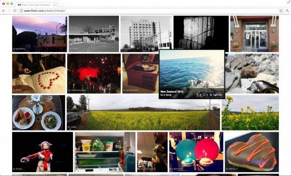 Das Flickr-Redesign stellt die Bilder noch mehr heraus, wie man es beispielsweise auch von Pinterest kennt (Bild: Mashable).