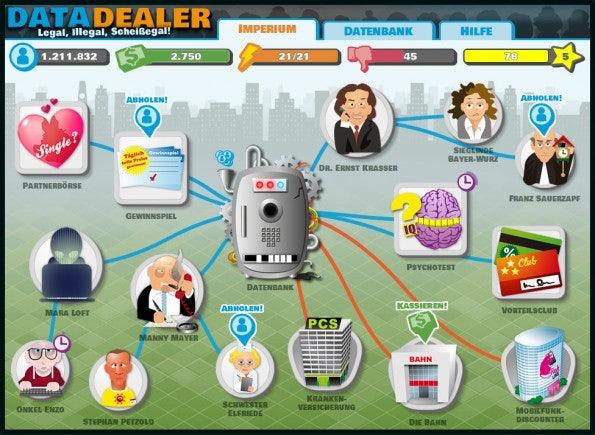 In Data Dealer müssen Spieler ein Imperium als Daten-Mogul aufbauen und sollen dabei spielend Aspekte des Datenschutz und der Privatsphäre im Internet lernen.