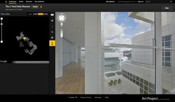 Das Google Art Project bietet unter anderem virtuelle Rundgänge durch Museen und Galerien im Stil von Google Streetview. Hier durch das J. Paul Getty Musueum in Los Angeles.