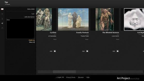 Das Google Art Project erlaubt es dem Nutzer, seine persönliche Galerie mit seinen Lieblingskunstwerken zu erstellen.