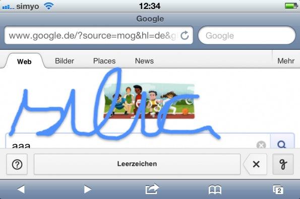 Das Finger-Malen bei Google Handwrite macht auch Spaß.