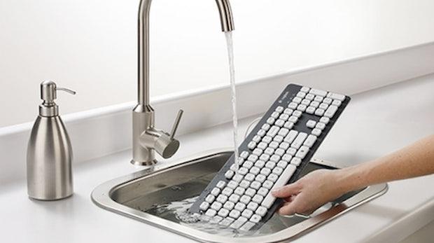 Logitech stellt abwaschbare Tastatur vor – keine Angst vor Cola, Saft und Krümeln
