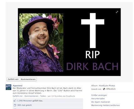 Dirk Bach, bild.de und der EdgeRank