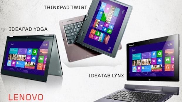 Yoga, Lynx und Twist: Lenovo stellt vier Windows 8/RT Convertibles vor