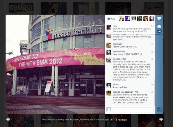 Instagram für Business: Der Musiksender MTV nutzt den Bilder-Sharingdienst schon sehr vielseitig.