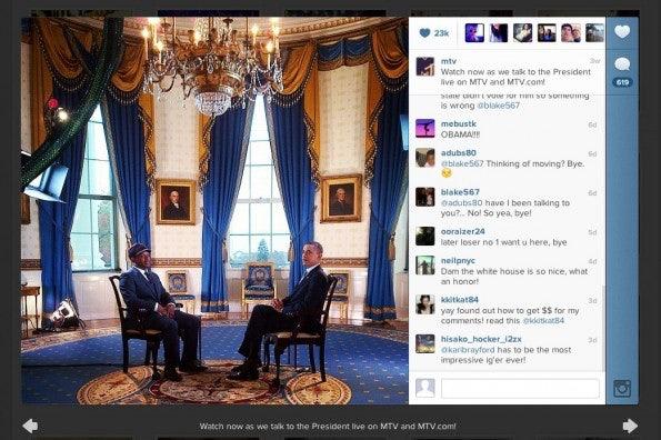 MTV nutzt Instagram auch für Hinweise auf Live-Sendungen.
