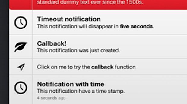jQuery Benachrichtigungen: Unauffällige Helfer für Web-Apps