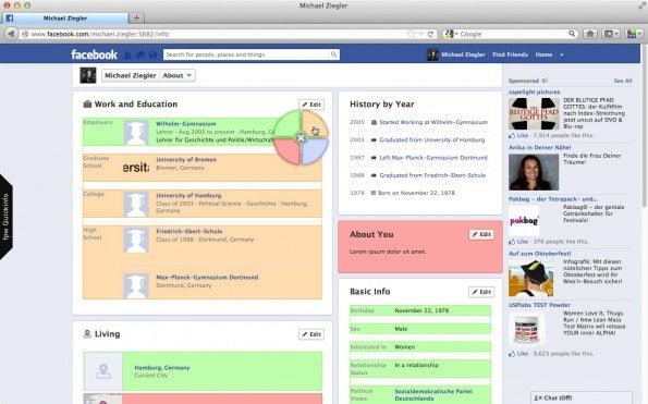 Auch Profil-Informationen werden gemäß ihrer Freigabe eingefärbt.