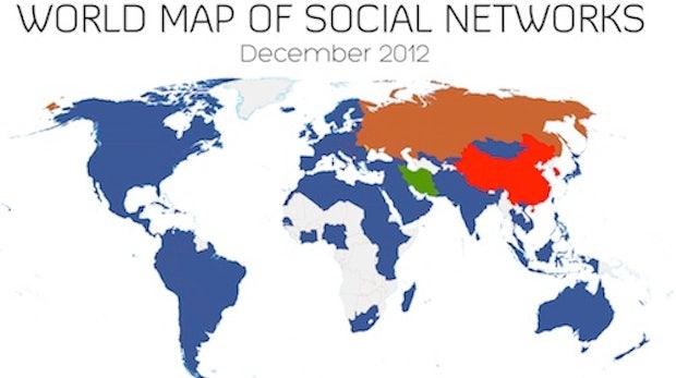 World Map of Social Networks: Facebook baut weltweite Dominanz weiter aus