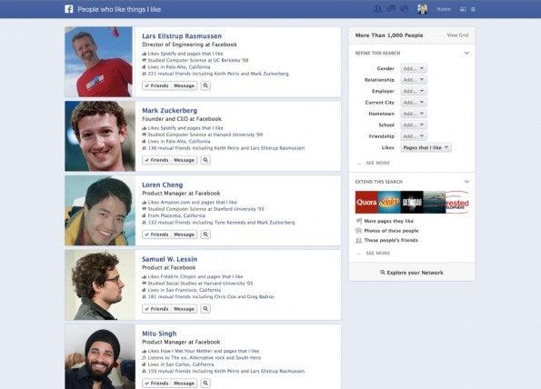 Facebooks Graph Search sortiert Suchergebnisse unter anderem nach der Anzahl der Gemeinsamkeiten.