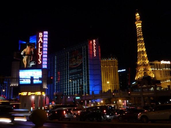 Blick auf verschiedene Hotels in Las Vegas.