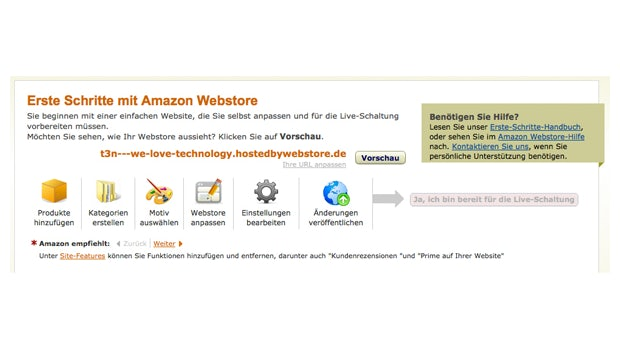 Amazon Webstore: Begrüßungsbildschirm in der Seller-Central