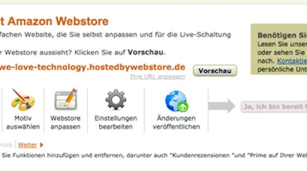 Amazon Webstore: Begrüßungsbildschirm in der Seller-Central