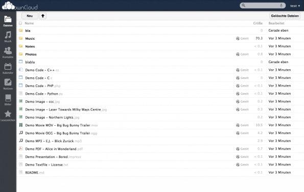 ownCloud verfügt über ein sehr umfangreiches Web-Interface.