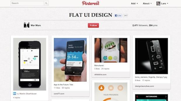Flat Design: Pinterest-Board sammelt gelungene Webdesign-Beispiele