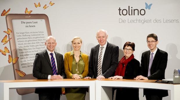 Deutsche Branchengrößen stellen E-Book-Reader Tolino Shine vor (Bild: Telekom)