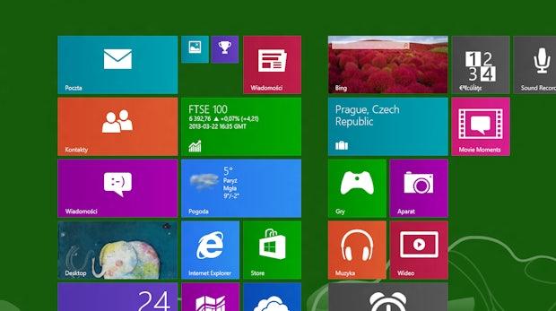 Der Homescreen von Windows Blue – inklusive neuer Live-Tile-Größe in der zweiten Spalte von links.