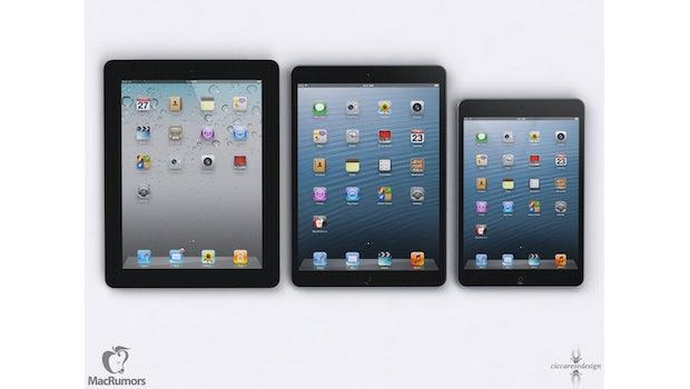 Mockup: Größenvergleich zwischen iPad4, iPad 5 und iPad mini (Bild: Macrumors)