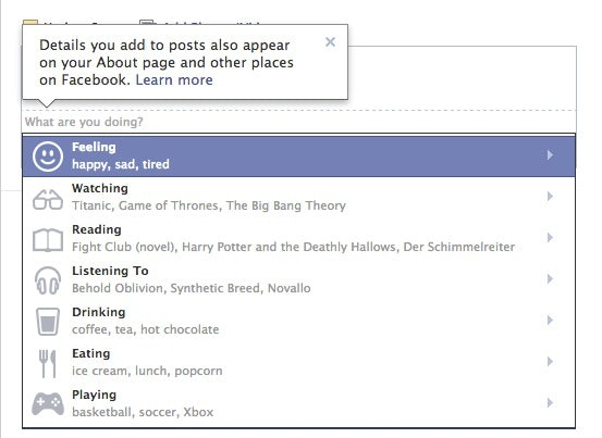 Facebook erweitert Statusupdates. (Screenshot: facebook.com)