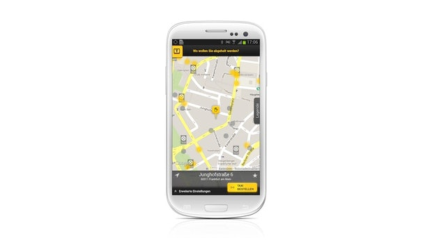 Taxi Deutschland App: Stadtplanansicht (Screenshot Samsung Galaxy S3)