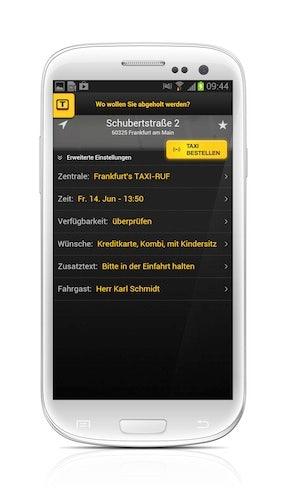Taxi Deutschland App: Verfügbarkeitsanzeige (Screenshot Samsung Galaxy S3)