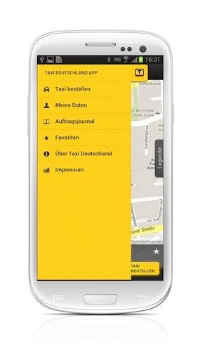 Taxi Deutschland App: Seitenmenüansicht (Screenshot Samsung Galaxy S3)