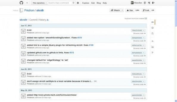 Die überarbeitete Commit-Seite auf GitHub. (Screenshot: GitHub)