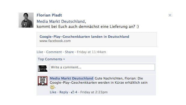 """Der Media Markt bestätigt die baldige Verfügbarkeit der Guthabenkarten (Screenshot: <a href=""""http://www.facebook.com/mediamarkt/posts/584811684897311"""">Facebook</a>)"""