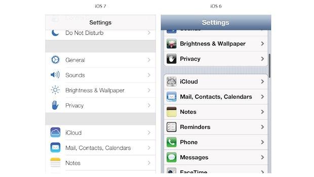 Unterschiede beim Scrollen zwischen iOS 6 und iOS 7. (Screenshot: Apple Developer Website)