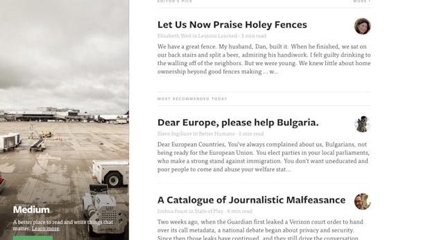 Die Startseite von Medium.com: Aufgeräumt, minimalistisch und übersichtlich. Hier findet man von den Machern ausgesuchte Artikel.