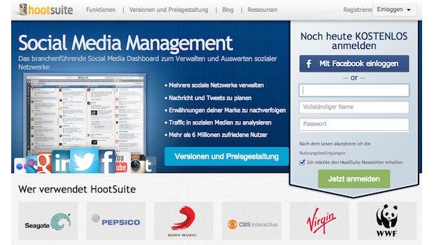 """Im Anmeldebereich der HootSuite kann man sich manuell oder via Social Login einen Account anlegen. (Screenshot: <a href=""""https://hootsuite.com"""">HootSuite</a>)"""