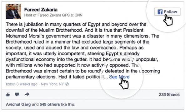 """Gleiches gilt für eingebettete Updates von Personen des Öffentlichen Lebens. (Bild: <a href=""""http://newsroom.fb.com/News/681/Introducing-Embedded-Posts"""">Facebook Newsroom</a>)"""