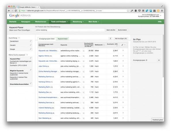 "Die Standard-Auswahl ""Anzeigengruppen-Ideen"" des Google Keyword Planers taugt leider nicht. (Screenshot: adwords.google.com)"